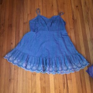 NWOT DENIM DRESS WITH LACE DETAIL